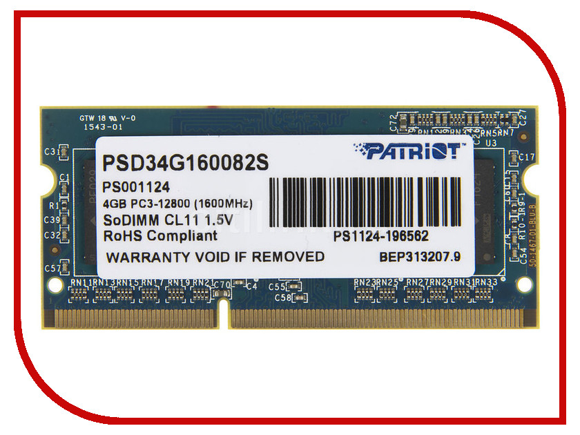 цена на Модуль памяти Patriot Memory DDR3 SO-DIMM 1600Mhz PC3-12800 CL11 - 4Gb PSD34G160082S