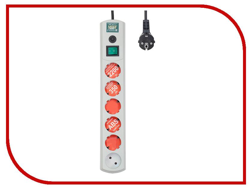Сетевой фильтр Most LRG 6 Sockets 3m White сетевой фильтр pilot 15a 6 sockets 3m 039
