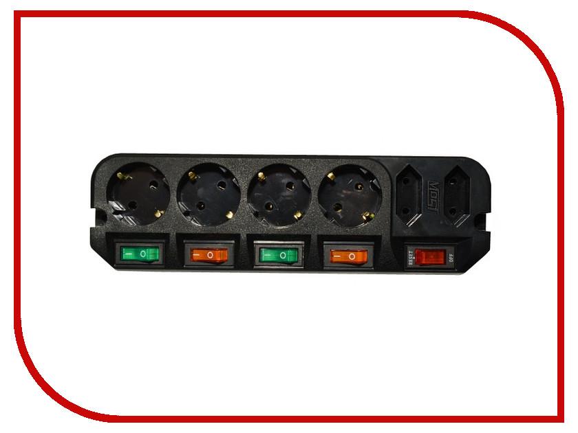 Сетевой фильтр Most ARG 6 Sockets 3m Black сетевой фильтр daesung mc2533 3 sockets 3m