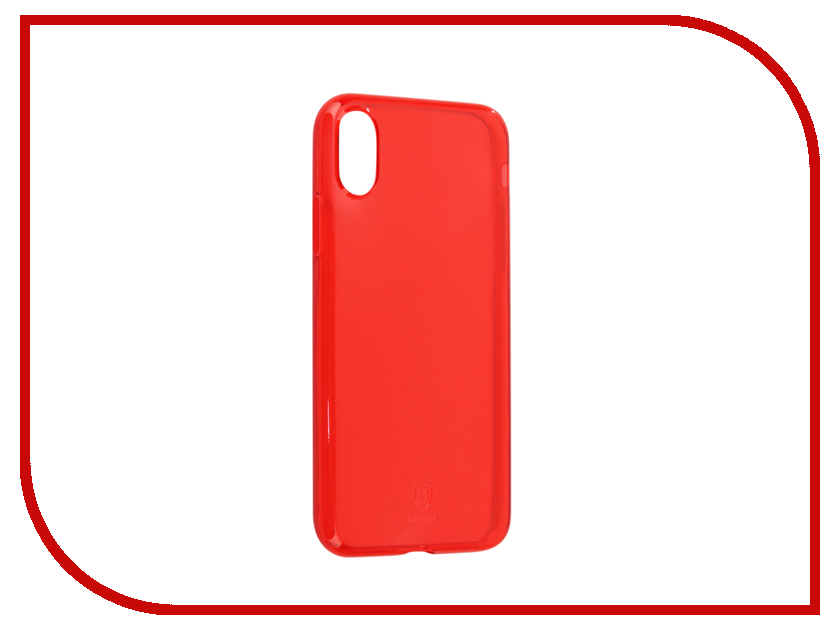 Аксессуар Чехол Baseus Simple Clean TPU для APPLE iPhone X Transparent Red ARAPIPHX-B09 baseus simple series clear thin tpu cover for apple watch 38mm transparent