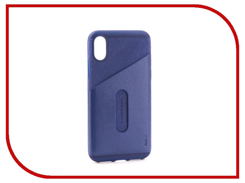 все цены на Аксессуар Чехол Baseus Card Pocket для APPLE iPhone X Dark Blue WIAPIPHX-KA15 онлайн