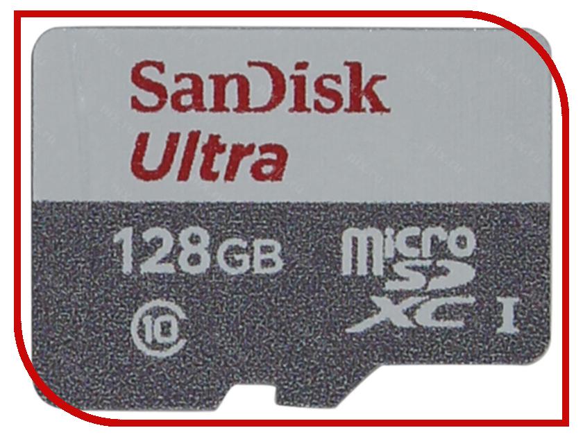 Карта памяти 128Gb - SanDisk Ultra - Micro SDXC Class 10 SDSQUNB-128G-GN3MN