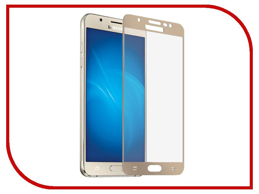 Аксессуар Защитное стекло Samsung Galaxy J5 2017 Onext с рамкой Gold 41442 аксессуар защитное стекло samsung galaxy s8 plus onext 3d gold 41266