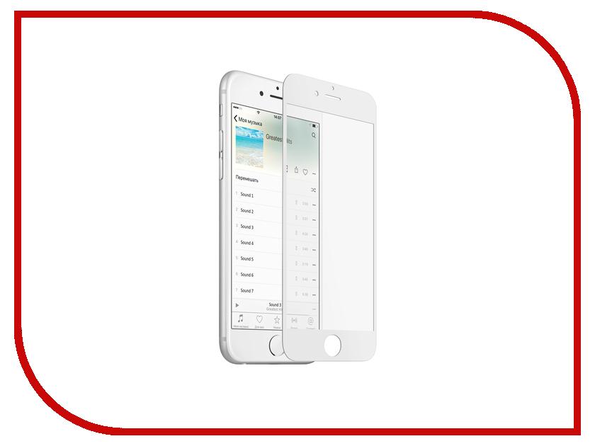 Аксессуар Защитное стекло Onext для APPLE iPhone 7 с рамкой White 41495 аксессуар защитное стекло onext eco для iphone 7 plus 43111
