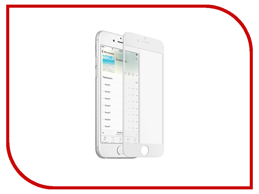 Аксессуар Защитное стекло Onext для APPLE iPhone 6/6S Plus с рамкой White 41493 аксессуар защитное стекло onext для apple iphone 8 с рамкой black 41498