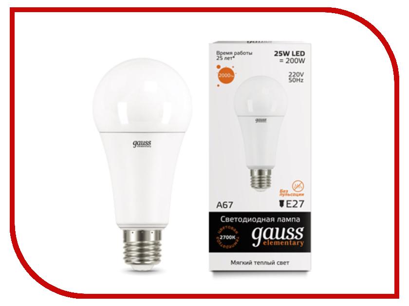 Лампочка Gauss Elementary E27 A67 25W 3000K 73215 цена и фото