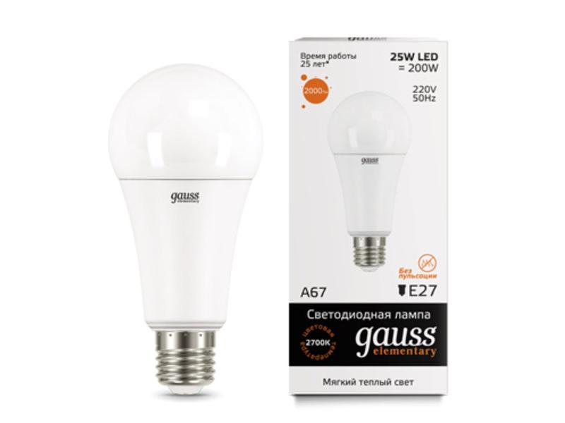 Лампочка Gauss Elementary E27 A67 25W 3000K 73215