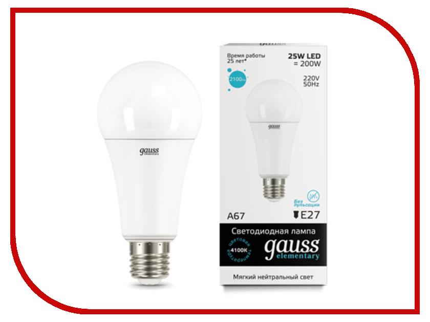 Лампочка Gauss Elementary A67 25W E27 4100K 73225