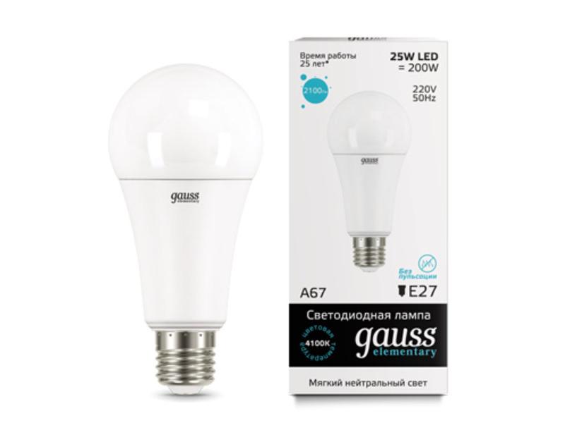 Лампочка Gauss Elementary E27 A67 25W 4100K 73225