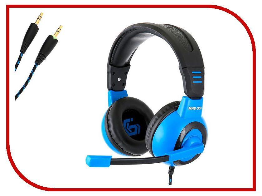 Фото Gembird MHS-G50 Black-Blue игровая гарнитура проводная gembird mhs g50 черный синий