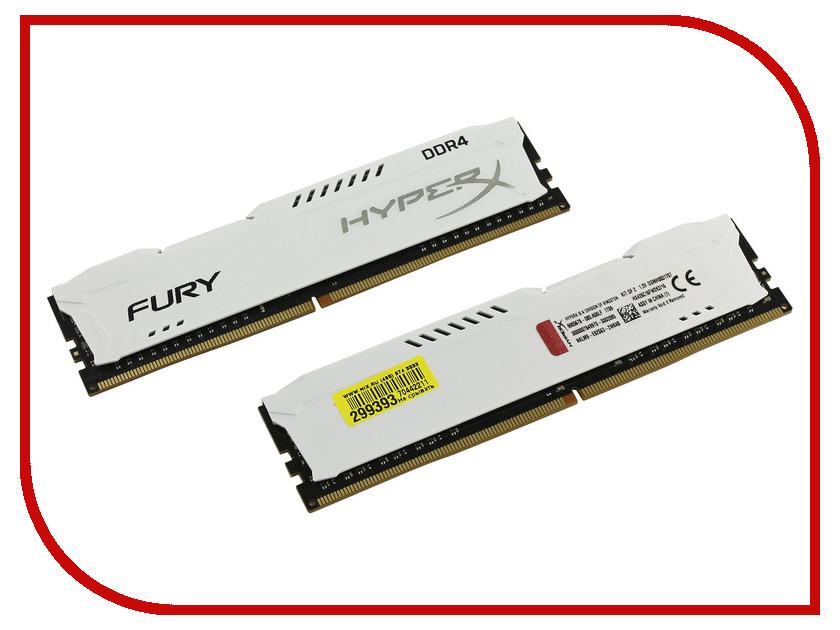 Модуль памяти Kingston HyperX Fury White Series DDR4 DIMM 2666MHz PC4-21300 CL16 - 16Gb KIT (2x8Gb) HX426C16FW2K2/16 модуль памяти kingston hyperx fury black pc4 17000 dimm ddr4 2133mhz cl14 16gb kit 2x8gb hx421c14fbk2 16