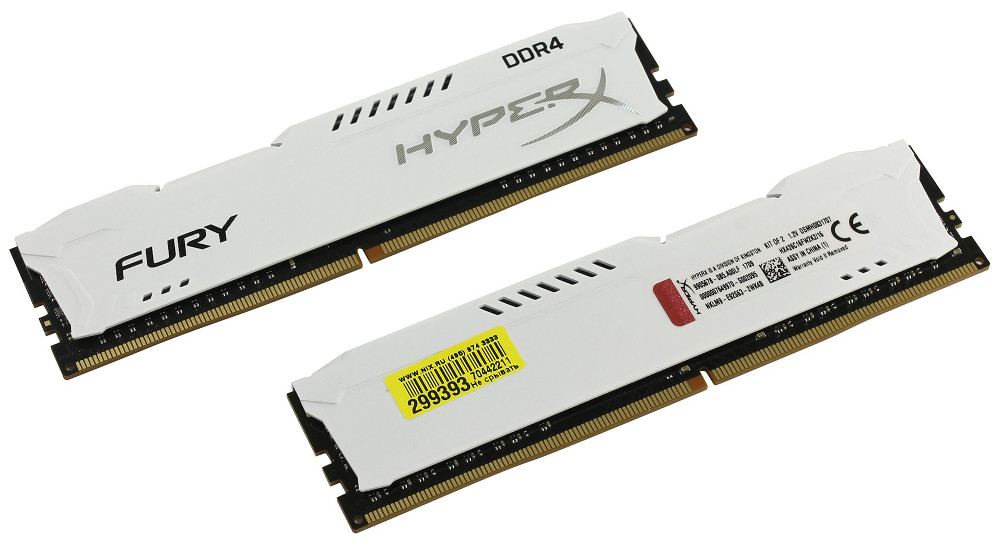 Модуль памяти Kingston HyperX Fury White Series DDR4 DIMM 2400MHz PC4-19200 CL15 - 16Gb KIT (2x8Gb) HX424C15FW2K2/16