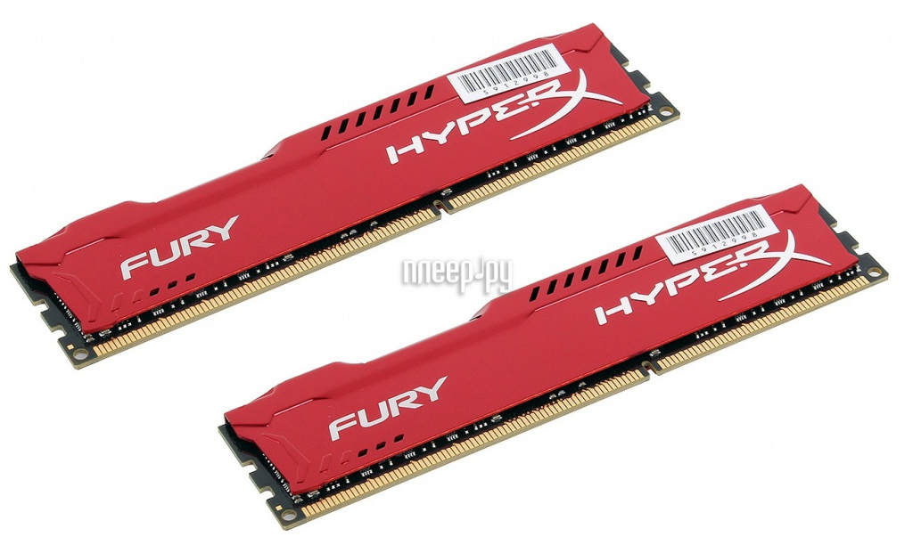 Модуль памяти Kingston HyperX Fury Red Series DDR4 DIMM 2400MHz PC4-19200 CL15 - 16Gb KIT (2x8Gb) HX424C15FR2K2/16