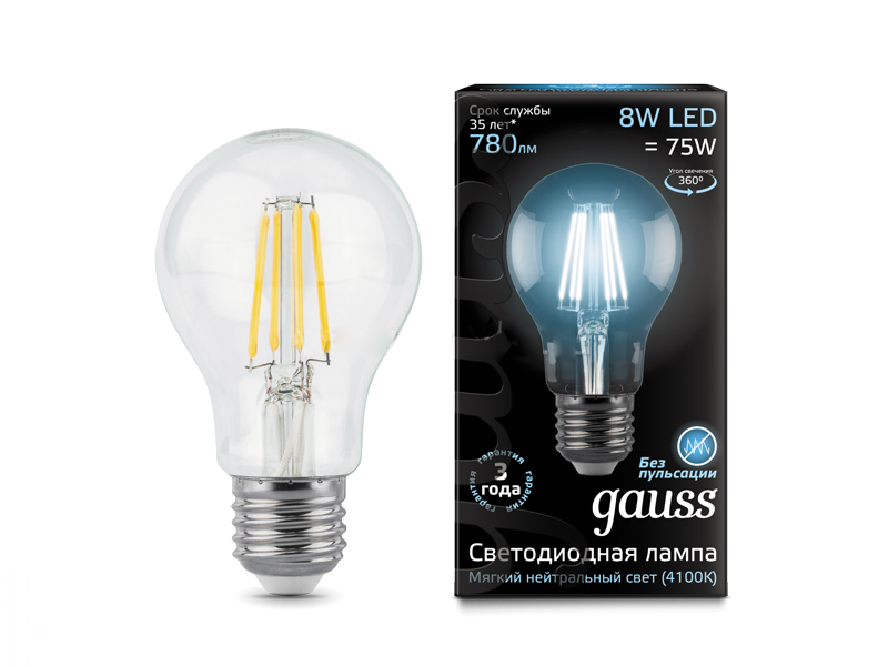 Лампочка Gauss LED Filament E27 A60 8W 4100K 102802208
