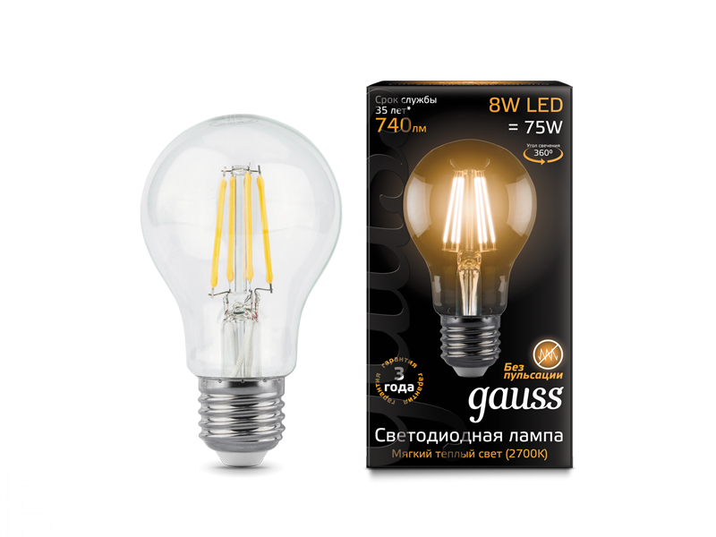 Лампочка Gauss LED Filament E27 A60 8W 2700K 102802108