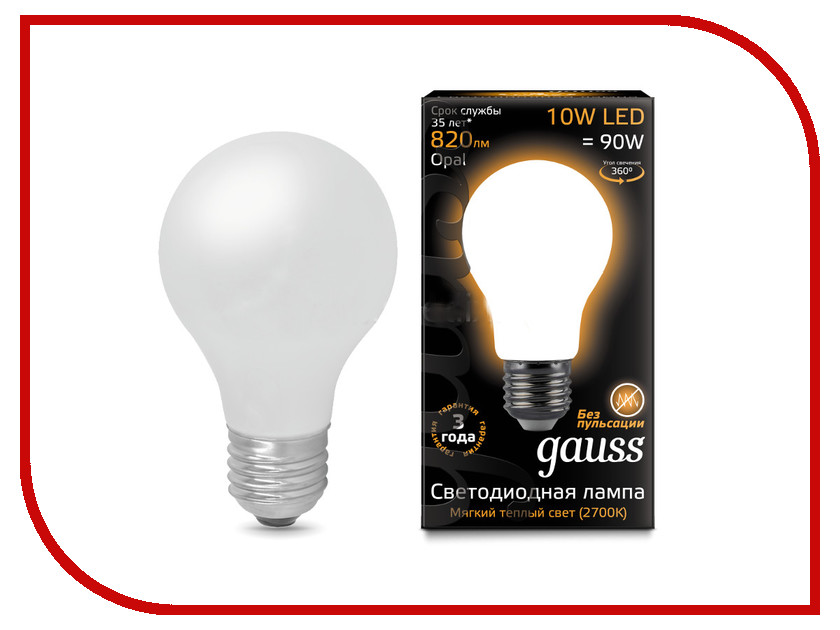 Лампочка Gauss LED Filament Opal A60 E27 10W 2700K 102202110 лампочка спутник led a60 10w 3000k e27 16 a60 10w 3000 e27