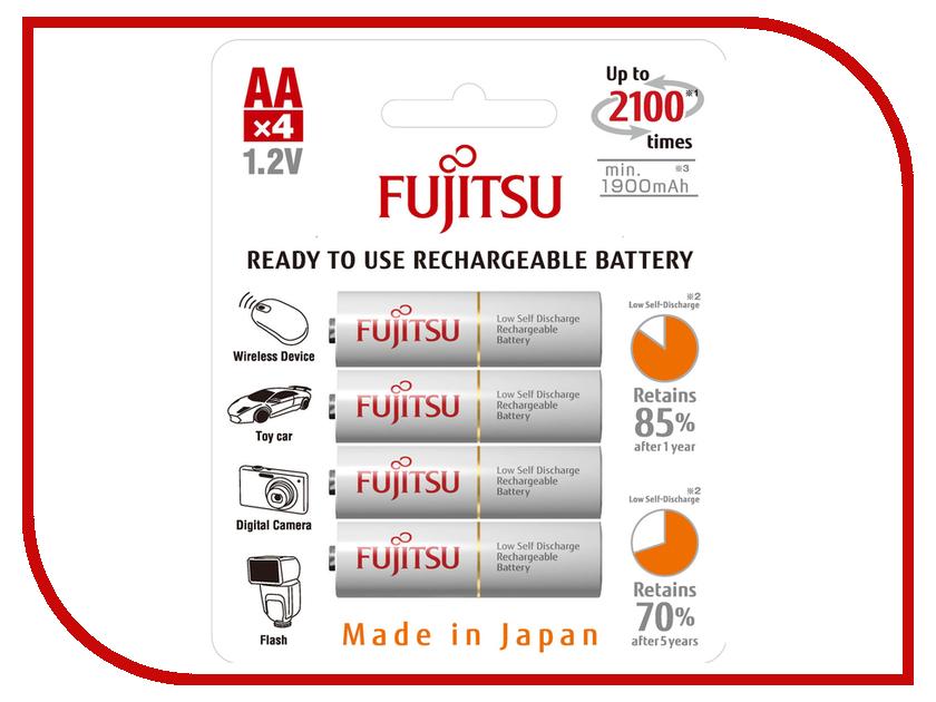 Аккумулятор AA - Fujitsu HR-3UTCEU (4B) 1900 mAh (4 штуки) FDKB00002 аккумулятор aaa fujitsu hr 4uthceu 2b 900 mah 2 штуки 84438