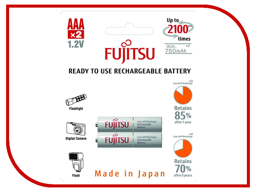 Аккумулятор AAA - Fujitsu HR-4UTCEU (2B) 750 mAh (2 штуки)