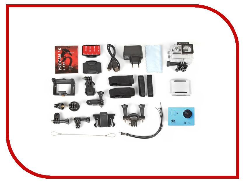 Экшн-камера Airon ProCam 4k Blue + пульт+поплавок экшн камера merlin procam lite 4k ultra hd 30 fps