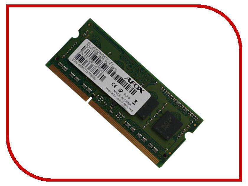 Модуль памяти AFOX DDR3 SO-DIMM 1600MHz PC3-12800 - 8Gb AFSD38BH1L модуль памяти silicon power pc3 12800 dimm ddr3 1600mhz 8gb sp008gbltu160n02