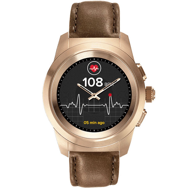 Умные часы MyKronoz ZeTime Premium Regular Rose Gold-Brown гибридные смарт часы mykronoz zetime original regular цвет матовое серебро черный