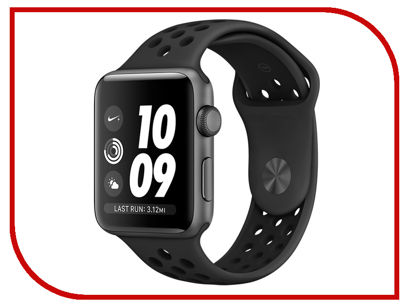 Умные часы APPLE Watch Series 3 Nike+ 38mm Aluminium Space Gray Sports Strap Anthracite-Black MQKY2RU/A hoco defender series plating pc case for apple watch 38mm series 1 series 2 silver