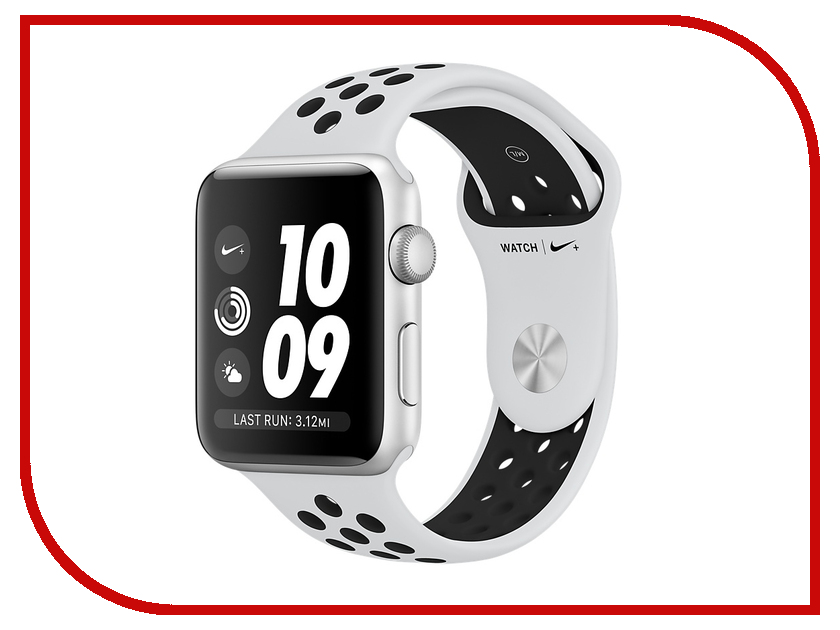 Умные часы APPLE Watch Series 3 Nike+ 42mm Silver Aluminium Sports Strap Platinum-Black MQL32RU/A hoco defender series plating pc case for apple watch 38mm series 1 series 2 silver