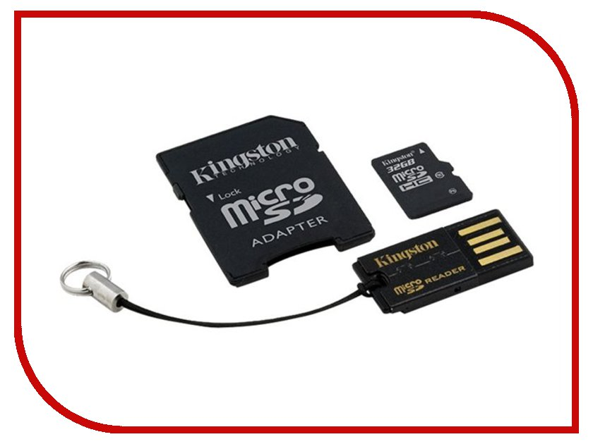 Карта памяти 32Gb - Kingston Kit - Micro Secure Digital HC Class 10 MBLY10G2/32GB c карт-ридером + переходник под SD