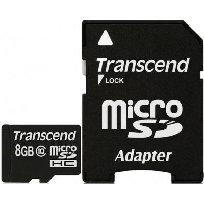Карта памяти 8Gb - Transcend - Micro Secure Digital HC Class 10 TS8GUSDHC10 с переходником под SD карта памяти 8gb transcend micro secure digital hc uhs i u3 class 10 ts8gusd500s с переходником под sd