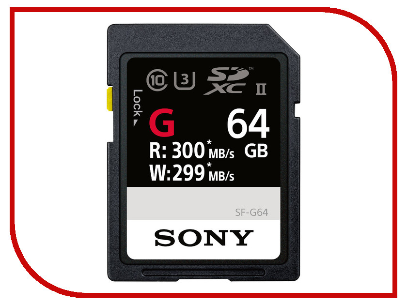 Карта памяти 64Gb - Sony Secure Digital XC UHS-II Class 10 SF-G64 карта памяти compactflash sony qd n64 j