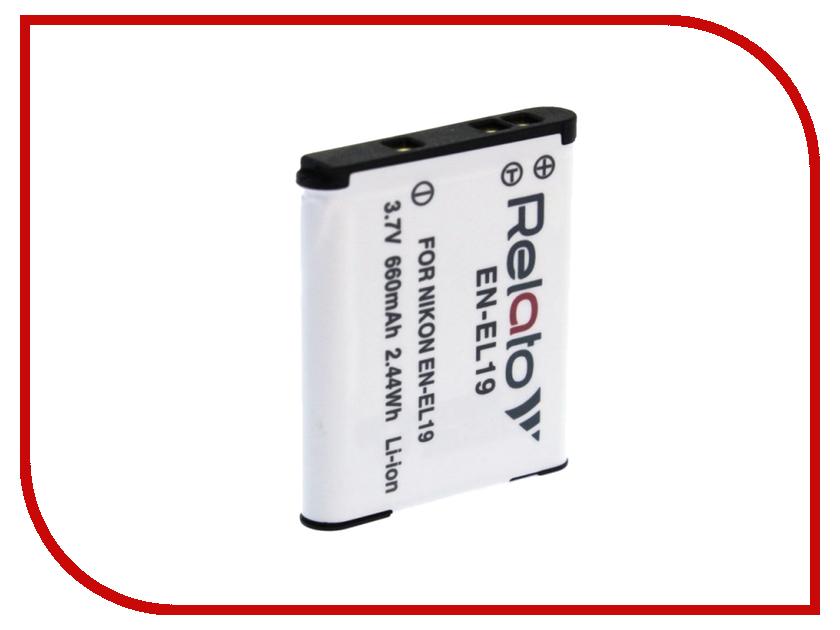 Аккумулятор Relato EN-EL19 для Nikon CoolPix A100/S100/S2500/S2550/S2600/S2700/S2750/S2800/S2900/S3100/S32/S33/S3300/S3400/S3500/S3600/S3700/S4100/S4150/S4300/S4400/S5300/S6400/S6500/S6600/S6700/S6800/S6900/S9900