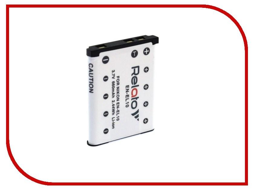 Аккумулятор Relato EN-EL10 для Nikon CoolPix S200/S203/S210/S220/S230/S3000/S4000/S500/S510/S5100/S520/S570/S60/S600/S700/S80 / Pentax Optio L30/L40/M30/M40/T30/V10/W30