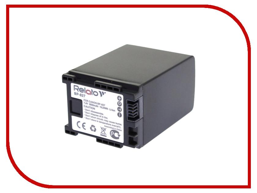 Аккумулятор Relato BP-827 для Canon HG20/HG21 / LEGRIA HF20/HF21/HF200/HF G10/HF G25/HF S10/HF S100/HF S11/HF S20/HF S200/HF S21/HF S30/HF M306/HF M31/HF M32/HF M36/HF M406/HF M41/HF M46 батарея для qtek s200