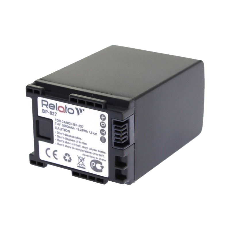 Аккумулятор Relato BP-827 для Canon HG20/HG21 / LEGRIA HF20/HF21/HF200/HF G10/HF G25/HF S10/HF S100/HF S11/HF S20/HF S200/HF S21/HF S30/HF M306/HF M31/HF M32/HF M36/HF M406/HF M41/HF M46 цены