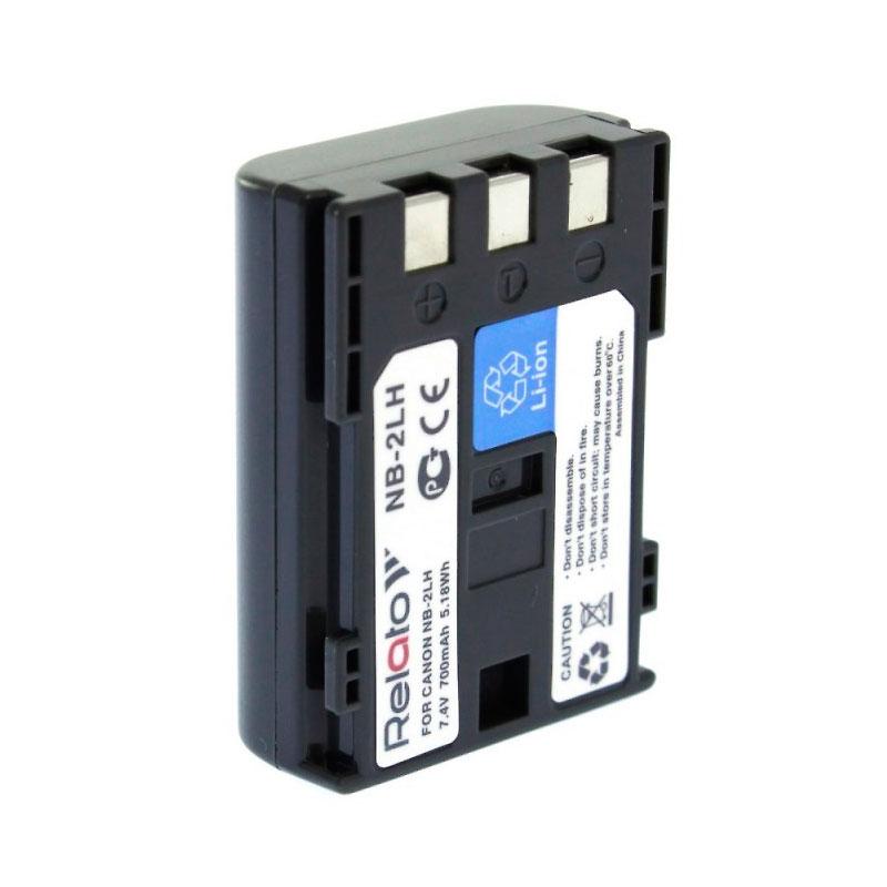 Аккумулятор Relato NB-2LH для Canon G7/G9/S30/40/45/50/60/70/80/EOS 350D/400D/Digital Rebel XT/MV-5i/5iMC/6iMC/790/800 series/900-series/MVX-200i/250i/300/330i/350i/20i/25i/30i/35i/40i/45i/MD100-series/MD200-series/HG10/HV20/HV30/DC301/DC310/DC311/DC320/DC330/DC410/D