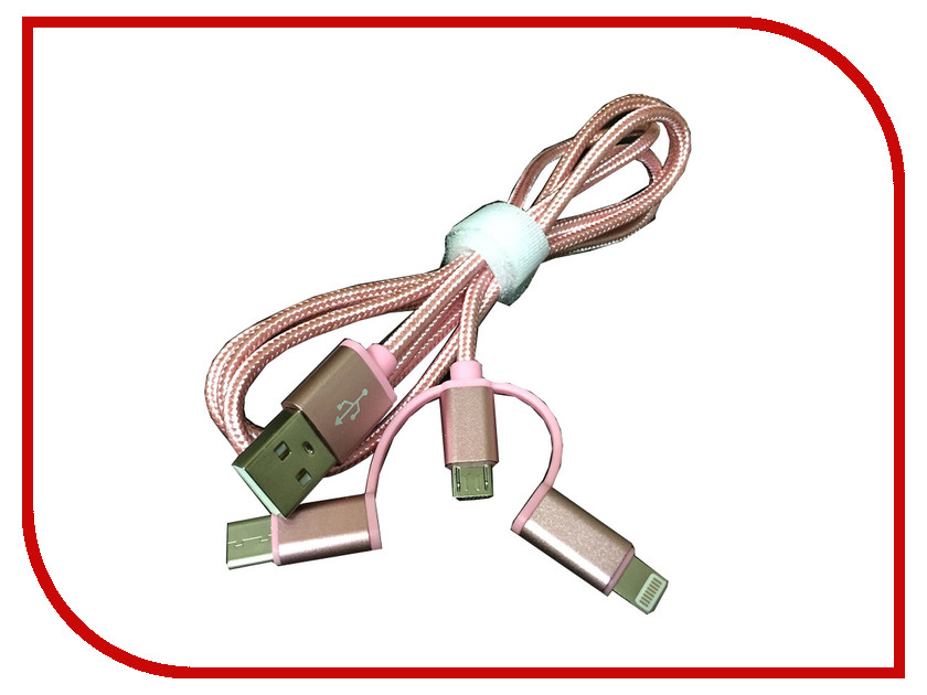Espada Аксессуар Espada Lightning + microUSB + Type C 1m Pink to USB 2.0 Eusb3in1m-m-p