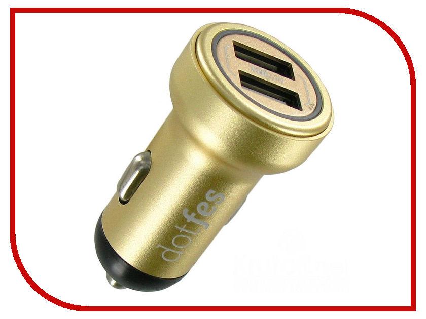 Зарядное устройство Dotfes B05 2xUSB 3.4A Gold 03180 зарядное устройство dotfes c04 1a кабель lightning black