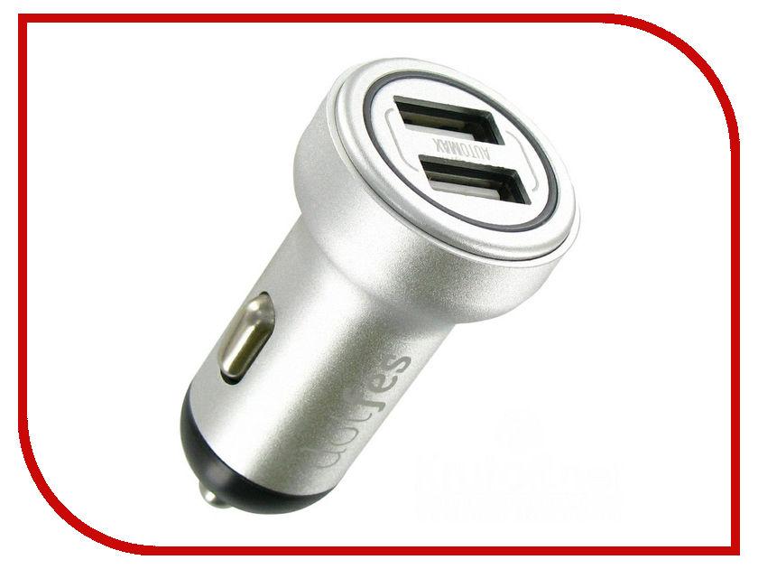 Зарядное устройство Dotfes B05 2xUSB 3.4A Silver 03183 зарядное устройство dotfes b03s 2xusb 4 8a lightning gold 03179
