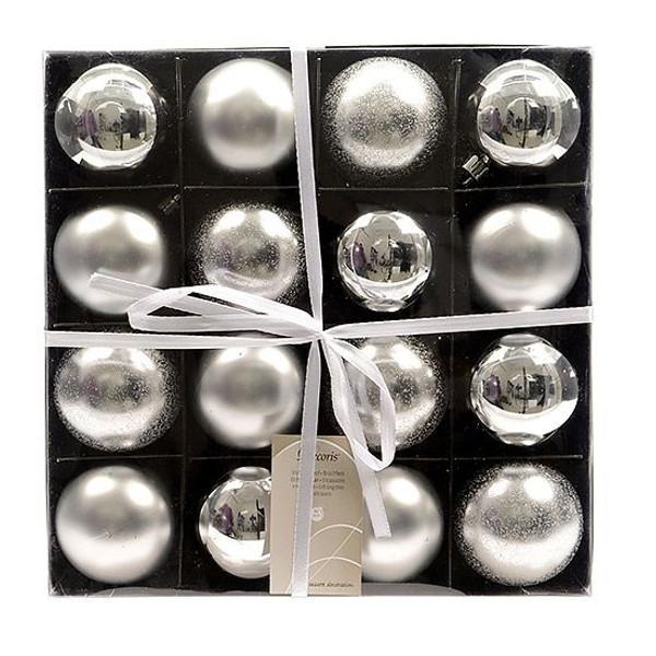 Украшение Kaemingk Набор шаров Старинное серебро 16шт 023656 украшение kaemingk набор шаров новогодняя коллекция 34шт silver 023151