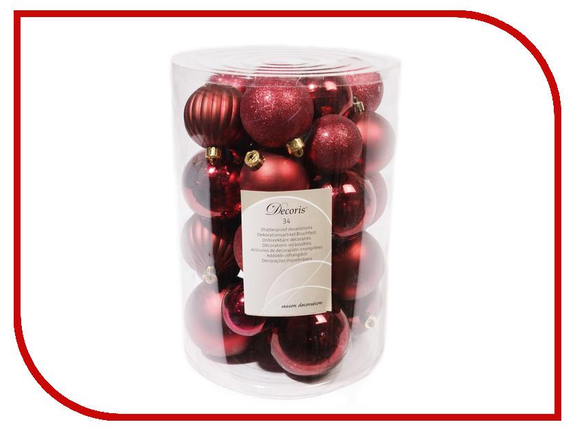 Украшение Kaemingk Набор шаров Новогодняя коллекция 34шт Red 023152 венок подсвечник новогодняя клюковка на четыре свечи kaemingk 60см