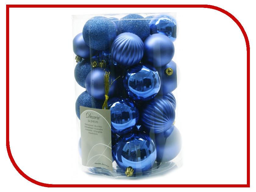 Украшение Kaemingk Набор шаров Новогодняя коллекция 34шт Blue 945547 венок подсвечник новогодняя клюковка на четыре свечи kaemingk 60см
