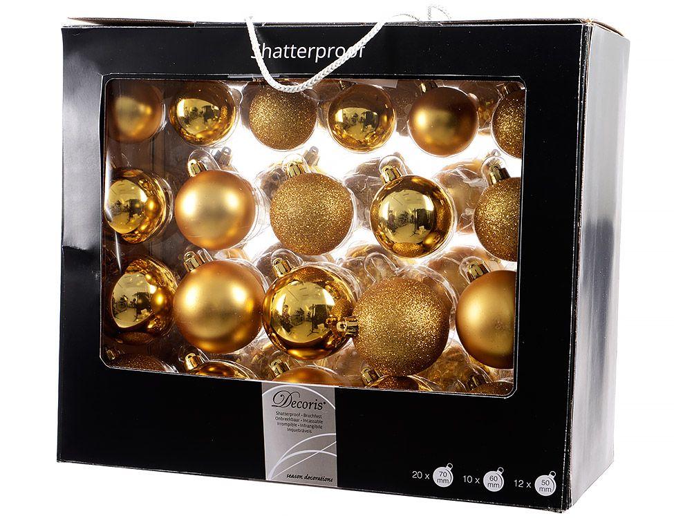 Украшение Kaemingk Набор шаров Праздничный стиль 42шт Gold 020720