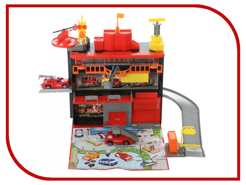 Автотрек Play Smart Пожарная станция C326-H06016 play smart металлич инерц машина автопарк play smart м1 50 box 12x5 7x6 8 см арт 6402b а74784