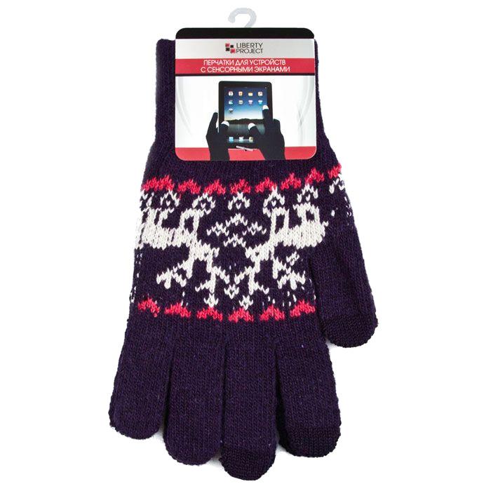 Теплые перчатки для сенсорных дисплеев Liberty Project Олени L Violet R0000505