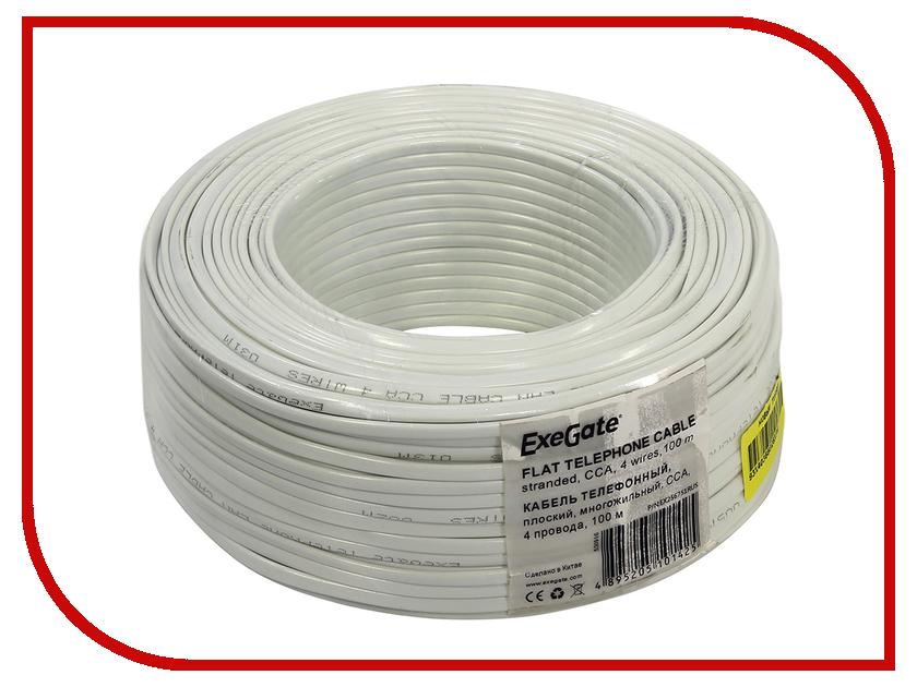 Сетевой кабель ExeGate Телефонный кабель CCA 4 провода Бухта 100m White стоимость