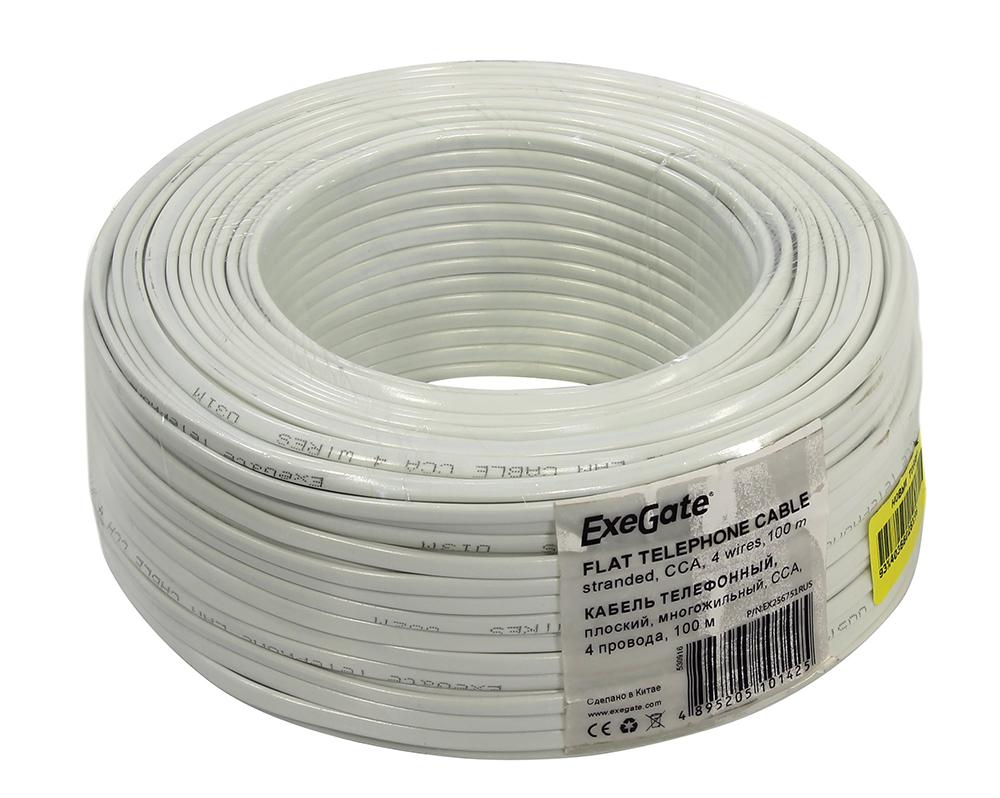 Сетевой кабель ExeGate Телефонный CCA 4 провода Бухта 100m White