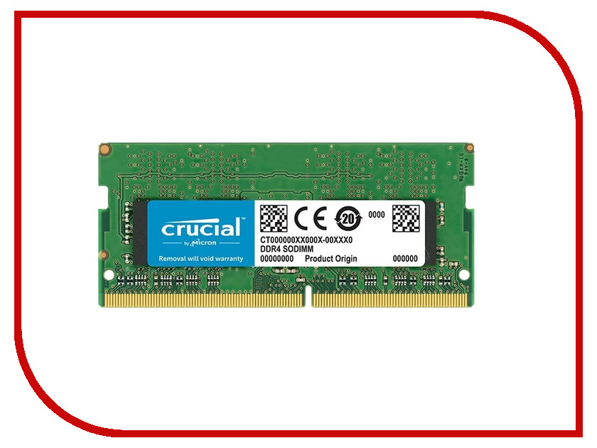 Модуль памяти Crucial DDR4 SO-DIMM 2666MHz PC4-21300 CL19 - 8Gb CT8G4SFS8266 модуль памяти crucial ddr4 so dimm 2133mhz pc4 17000 8gb ct8g4sfd8213