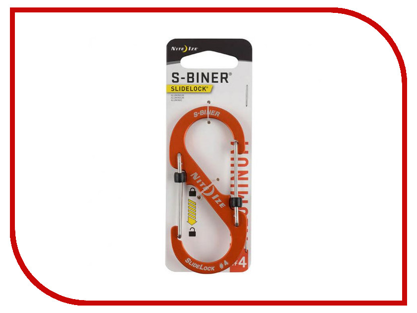 Nite Ize S-Biner SlideLock LSBA4-19-R6 Orange nite ize s biner slidelock lsba4 03 r6 blue