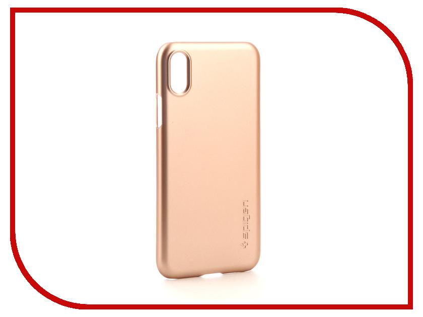 Аксессуар Клип-кейс Spigen Thin Fit для APPLE iPhone X Gold 057CS22110 аксессуар чехол spigen thin fit для apple iphone 7 black 042cs20427