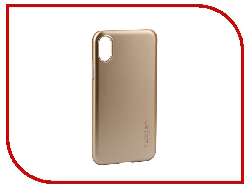 Аксессуар Клип-кейс Spigen Thin Fit для APPLE iPhone X Champagne 057CS22111 аксессуар чехол spigen thin fit для apple iphone 7 black 042cs20427